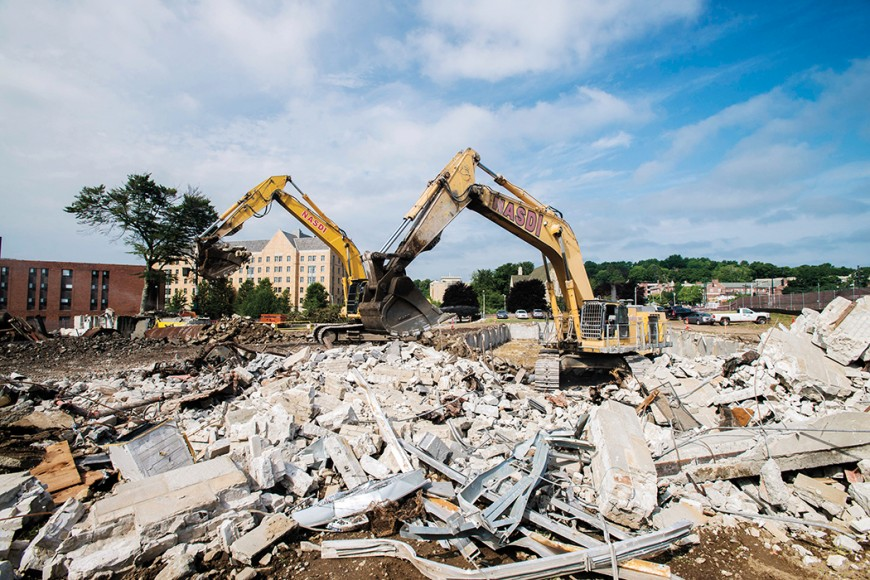 The demolition of More Hall.