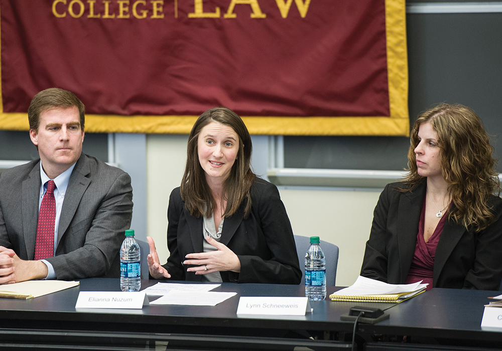Left to right, Middlesex County Assistant DA Joe Gentile, Suffolk County Assistant DA Elianna Nuzum, and Massachusetts State Police Crime Lab Deputy Director Lynn Schneeweis.