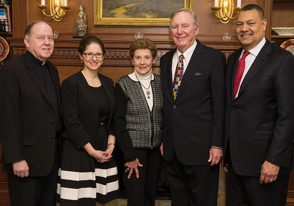 Celebrating the Donohue assistant professorship, from left, BC President William P. Leahy, SJ, Professor Natalya Shnitser, Pamela Donohue, David Donohue '71, and Dean Vincent Rougeau.