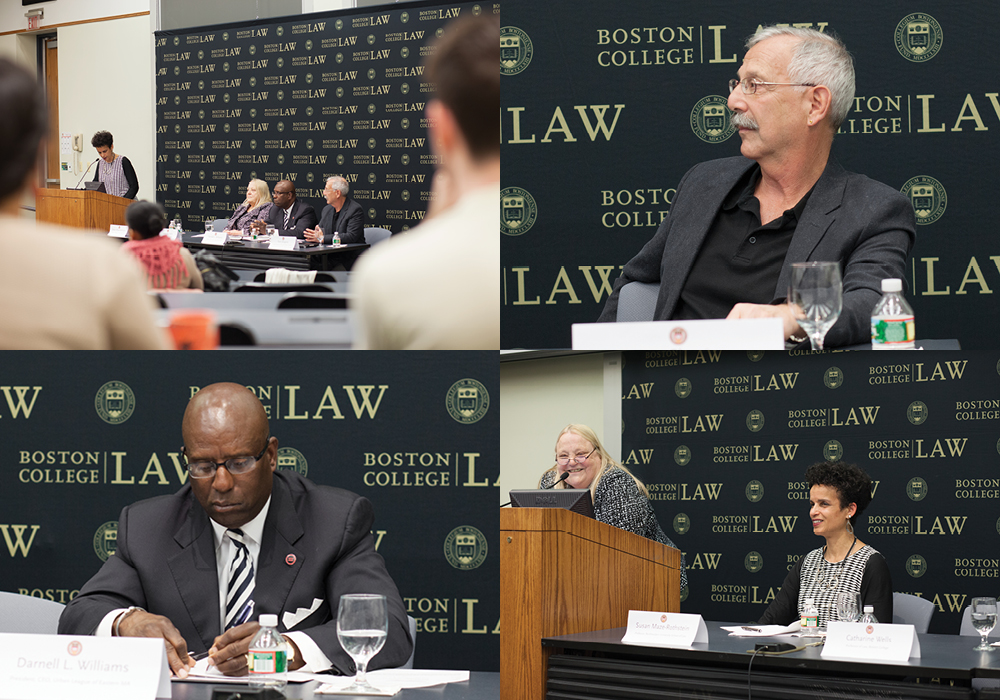 Clockwise from top left, Susan Maze-Rothstein (at the lectern), Tom Shapiro, Catharine Wells, and Darnell Williams.
