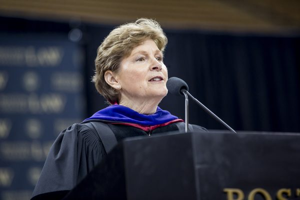 May 27, 2016 -- Commencement ceremony for the Boston College Law School class of 2017, held in Boston College's Conte Forum, with honorary speaker United States Senator Jeanne Shaheen (New Hampshire). Photographed for Boston College by Caitlin Cunningham (www.caitlincunningham.com).