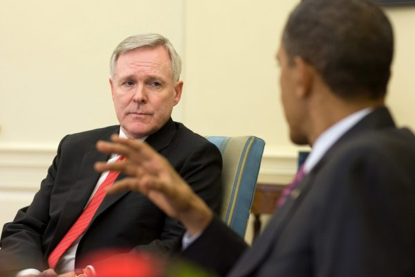 President Barack Obama meets with Secretary of the Navy Ray Mabus in the Oval Office, June 17, 2010.  (Official White House Photo by Pete Souza)  This official White House photograph is being made available only for publication by news organizations and/or for personal use printing by the subject(s) of the photograph. The photograph may not be manipulated in any way and may not be used in commercial or political materials, advertisements, emails, products, promotions that in any way suggests approval or endorsement of the President, the First Family, or the White House.