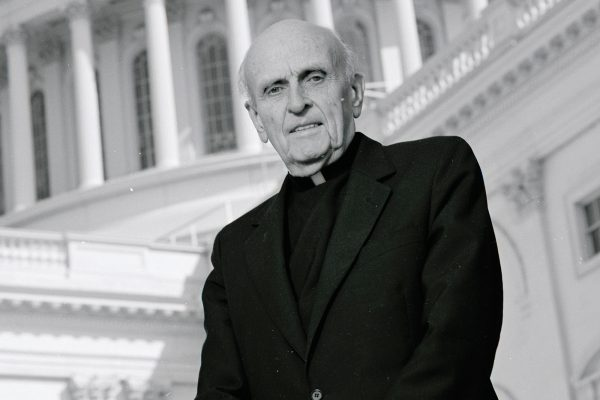 Robert Drinan, SJ, past BC Law dean, in Washington, D.C.