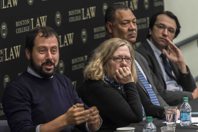 "Coverage of ""After Charlottesville"" event in East Wing 120 of the Law School. Participants included (L-R): Assist. Prof. Daniel Farbman; Cathleen Kaveney, Prof. of the Libby Chair; Dean Vincent Rougeau; and Vlad Perju, Assoc. Dir. of the Clough Center for the Study of Constitutional Democracy; all BC Law."