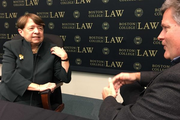 Mary Jo White, former Chair of SEC, talks with Professor Brian Quinn at an event on Feb. 12, 2018.