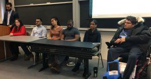 From left, Marcus Nemeth, Hanna Lipman, Alex Pena, Diana Li, Kevin Collins, Vaishali Goyal, Mousa Mosawy.