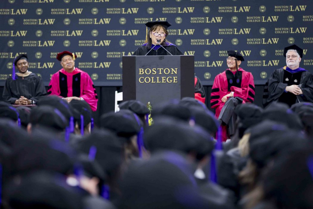 May 25, 2018 -- Boston College Law School's 2018 Commencement ceremony, held in Conte Forum. Photo by Caitlin Cunningham (www.caitlincunningham.com).