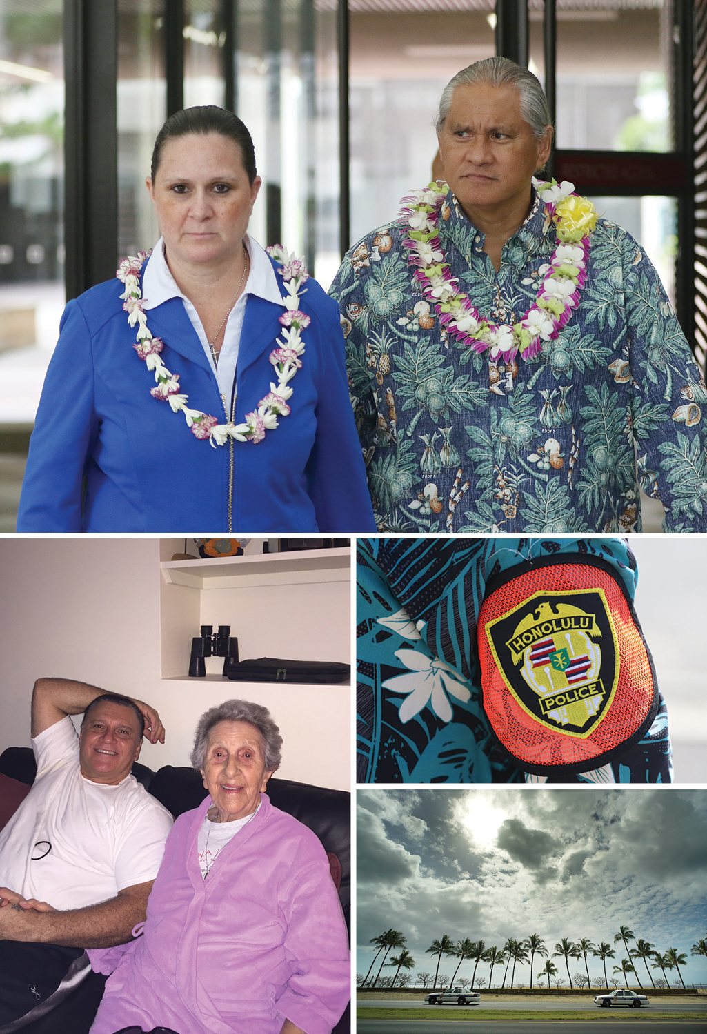 Clockwise, from top, city prosecutor Katherine Kealoha and former Honolulu Police Chief Louis Kealoha are accused of multiple crimes; symbols of the chief's one-time empire; Gerard Puana and his mother, Florence.