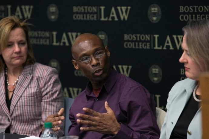Photo/Reba Saldanha   Rapport Center for Law and Public Policy at Boston College Law School November 8, 2017 Long-Delayed Justice, a Rappaport Center and Innocence Program event featuring Exoneree Fred Clay, Lisa M. Kavanaugh, Director, CPCS Innocence Program; Donna Jalbert Patalano ('01), Chief, Professional Integrity and Ethics/Training, Suffolk County District Attorney's Office; and Senator Pat Jehlen (MA), Senator Pat Jehlen, Massachusetts State Senate, Moderator: Professor Charlotte Whitmore, BC Innocence Program.