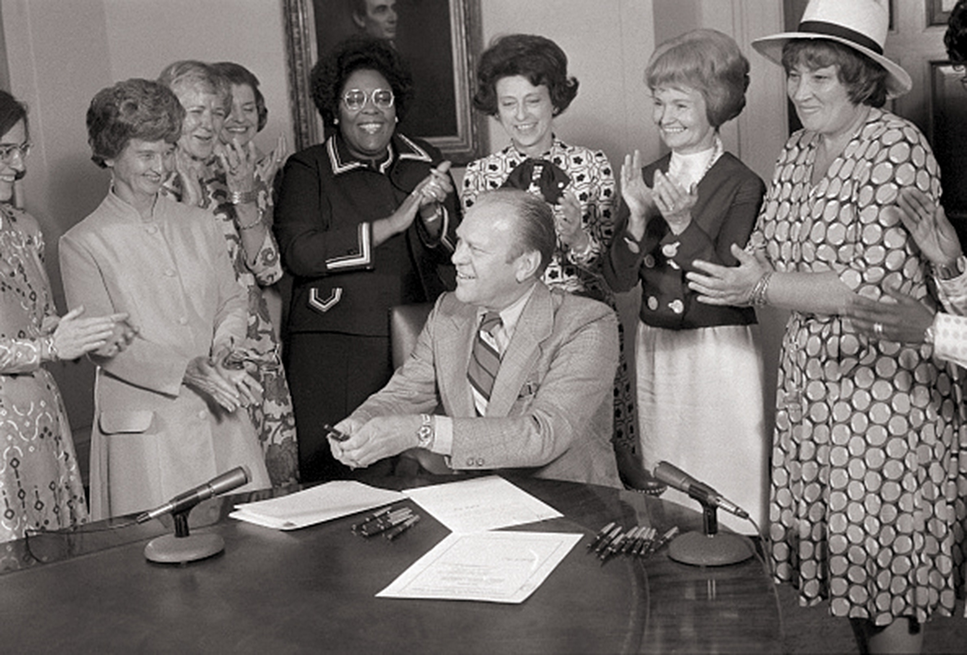 Margaret Heckler at President Ford's signing of the Women's Equality Day Proclamation in 1974.