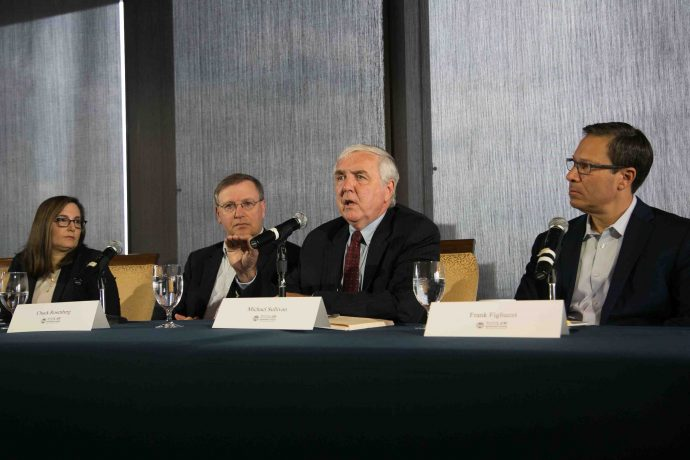 Photo/Reba Saldanha  Rappaport Center for Law and Public Policy panel discussion on the Mueller Report at the BC Club Boston June 25, 2019