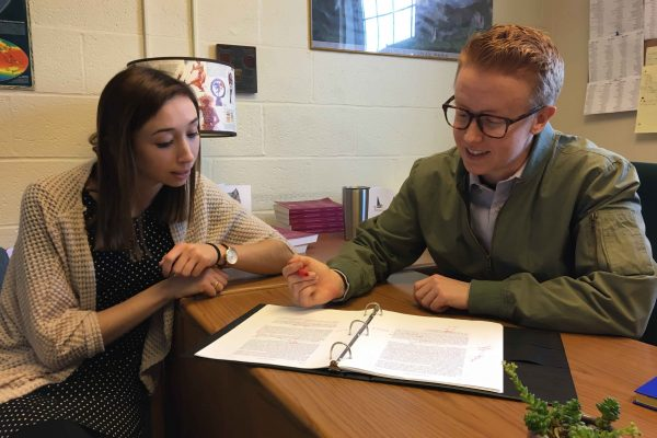 Interview with Caitlin Toto '18 (left) and KG Gasseling '18 (right), co-editors of the consolidated Boston College Law Review, for a follow-up story on the merger of all law reviews into one, which took place in the Fall of 2017.