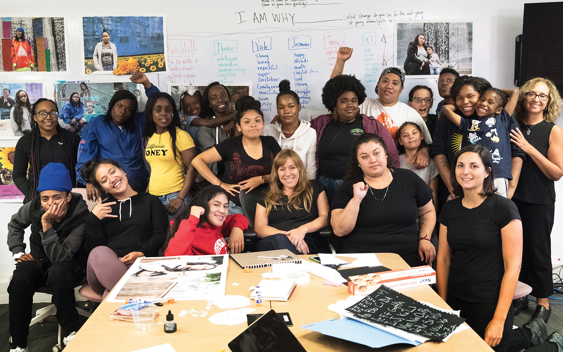 Professor Francine Sherman, far right, with colleagues and young women who have taken up the I Am Why challenge to become activists for policy change. They gathered at the Young Women's Freedom Center in San Francisco.