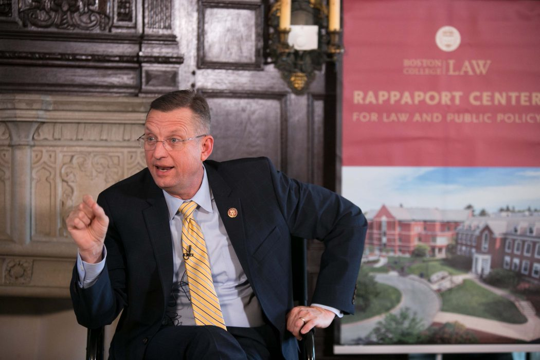 Photo/Reba Saldanha Congressman Doug Collins, Former Massachusetts Gov. Jane Swift at the Rappaport Center for Law and Public Policy at Boston College Law School February 3, 2020