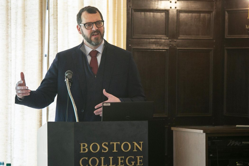 Photo/Reba Saldanha  Clough Center for Constitutional Democracy at Boston College talk by Russel Miller, Barat House February 13, 2020