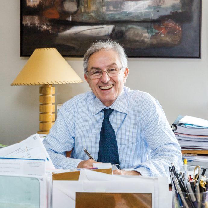 Portrait of Jim Champy '68, photographed for Boston College Law School in his home at 330 Beacon Street in Boston.
